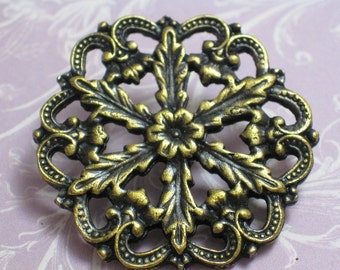 Vintage Oxidized Large Brass Finding - 2