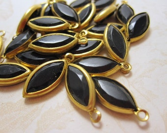 LOWER PRICE - Lucite Marquis Shaped Black Charms - 12