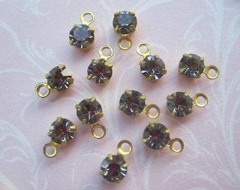 Vintage Swarovski Black Diamond Round Charms - 16