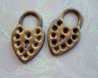 Brass Heart Lock Charms - 8!!!!
