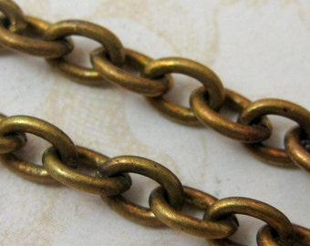 Oxidized Brass Cable Chain - (3 feet)