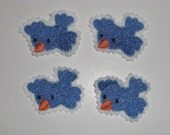 Felt Embroidered handmade appliques set of 4 Blue Birds