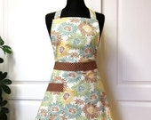 Retro Apron, Mums Green Mocha Mustard - Flair for Cooking Vintage Inspired Apron