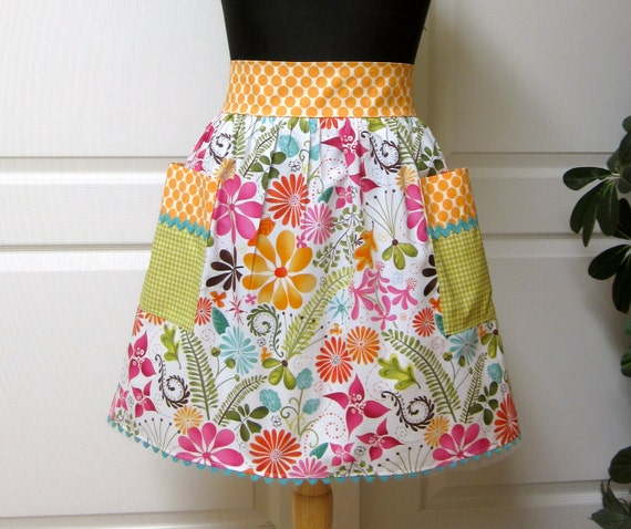 Modern Chic Half Apron - Retro Flowers Tangerine Polka Dots - Flair for Cooking Vintage Half Apron