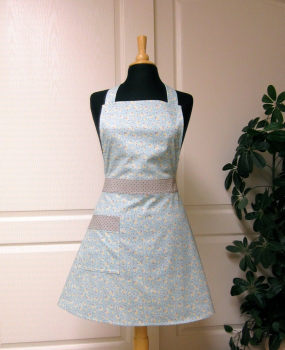 Classic Retro Apron - Petite Yellow Grey Flowers on Blue - Flair for Cooking Hostess Apron