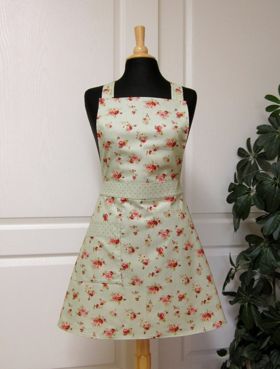 Retro Apron Sage Green Floral, Flair for Cooking Cute Womens Full Kitchen Apron