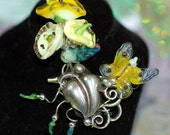 Lampwork Glass Spring Bouquet Pin - Hand Created