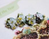 Lampwork Glass Buttons - Button set of 4 Floral design