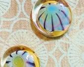 Lampwork Glass Button set - Handmade - Murrini in a Basket - Sewing - Knitting supplies