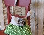 little girls purse toddler handbag tote in green apple print by designer Sarah Jane
