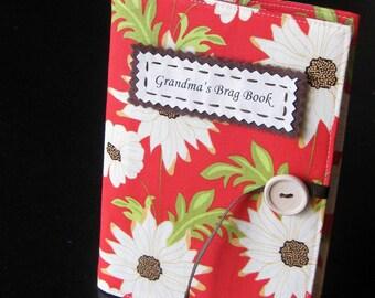 personalized photo album brag book in crimson floral