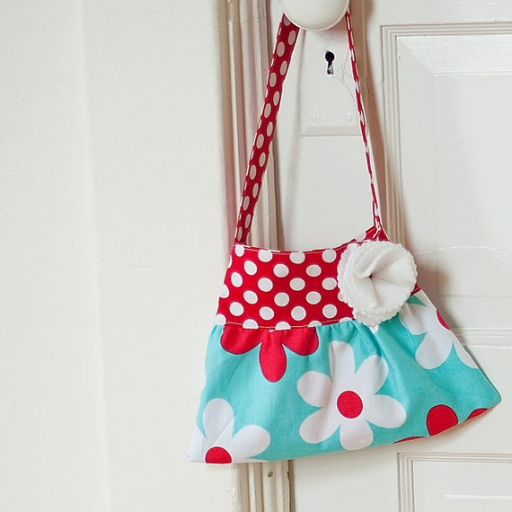 little girls purse toddler handbag tote in teal and red michael miller