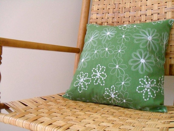 Green with White Flowers Throw Pillow