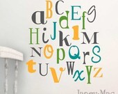 Alphabet Vinyl Wall Decal - Nursery Bedroom Fun and Funky Fonts - Modern Gender Neutral - Wall Art - CL125