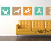 Children's Alphabet Wall Decal - Modern A to Z - Giraffe Monkey Elephant Frog Lion - Vinyl Wall Art Sticker - CL103B