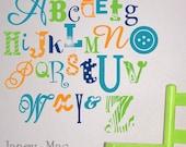 Alphabet Wall Decal Sticker - Vinyl Alphabet Wall Art - Nursery Wall Decor - Fun and Crazy Alphabet - CL100