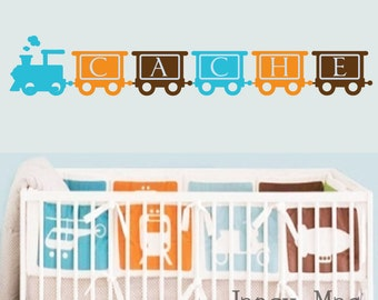 Train Wall Decal - Vinyl Train with Name Wall Sticker - Custom Kids Name and Train - Boy Vinyl Wall Art Sticker - CB107A