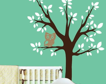 Modern Childrens Wall Decal Tree with Owl - Oversized Vinyl Wall Art Sticker - Vinyl Tree with Owl Nursery Wall Decor - CT105