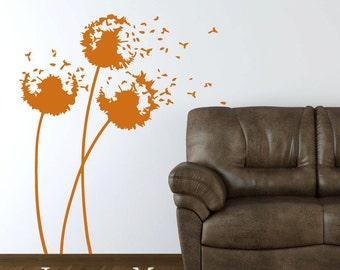 Blowing Dandelions Wall Decal  - Vinyl Dandelions Sticker - Nursery Vinyl Wall Art Sticker Decal - HT102B