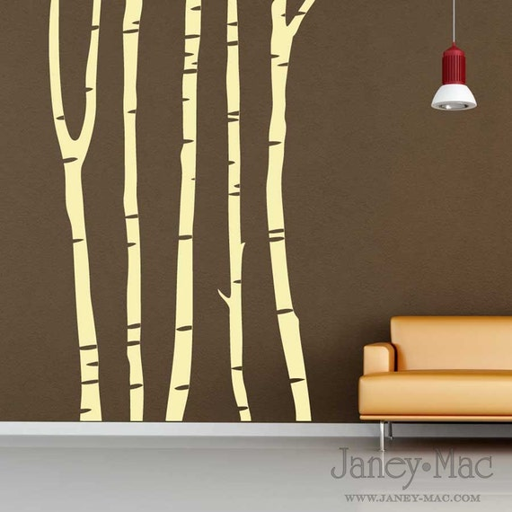 Vinyl wall art birch tree trunks ot102 for Tree trunk wall art