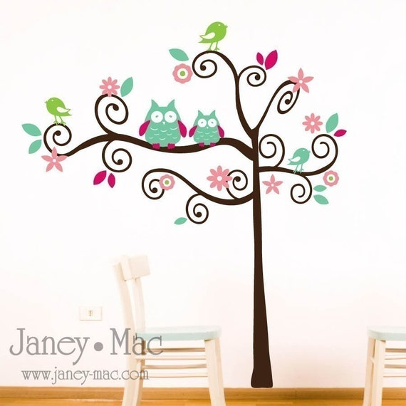 Vinyl Wall Art - Swirl Tree with Owls, Birds, Flowers and Leaves