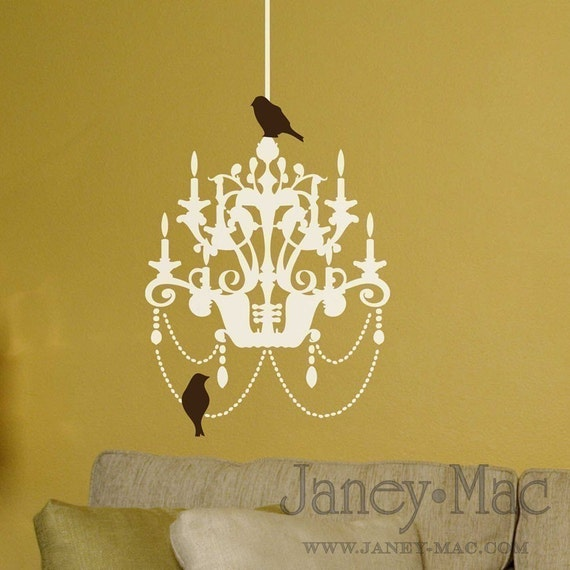 Vinyl Wall Art - Chandelier with Birds - BCH100