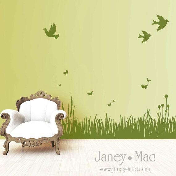 RESERVED - Grass Wall Decal with Birds and Butterflies - Living Room - Bedroom Children Nursery - Vinyl Wall Art Sticker - HT106
