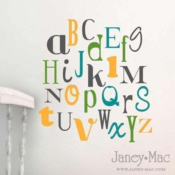 alphabet vinyl wall decal nursery bedroom fun by With vinyl wall alphabet letters