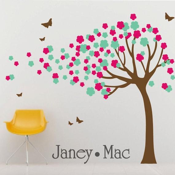 RESERVED - Girls Blowing Flower Tree Wall Decal with Butterflies - Vinyl Wall Art Sticker - Nursery Children's Girl Bedroom - CT111 - G