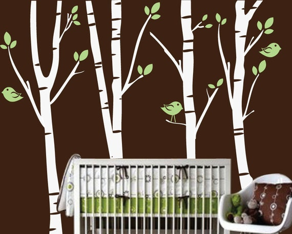 Vinyl Wall Decal Tree - Winter Birch Tree with Birds - Nursery Children's Bedroom - Vinyl Wall Art Sticker - CT110