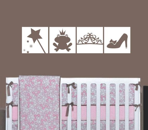 Princess Wall Decal Squares - Vinyl Princess Wand Frog Prince Tiara and Glass Slipper - Girl Bedroom Nursery Vinyl Wall Art Sticker - CG112B