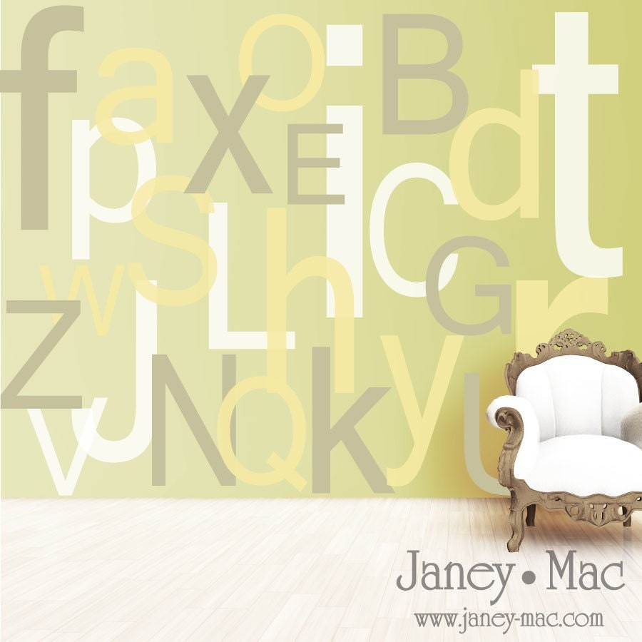 vinyl wall art extra large letters abc alphabet upper and. Black Bedroom Furniture Sets. Home Design Ideas