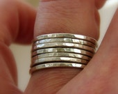 Set of 7 Sterling Silver Stackable Rings, Shiny Textured Bands, Sizes 4, 5, 6, 7, 8, 9, 10, 11 half and quarter sizes