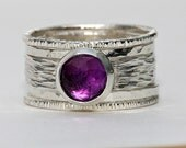 Unique Amethyst rustic, earthy, hammered recycled sterling silver stackable wedding ring set, engagement bands February Birthstone Rings