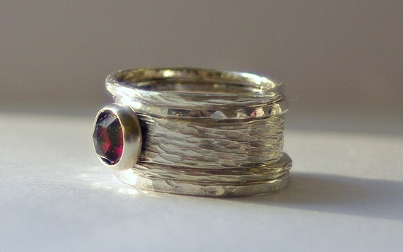 Unique Rustic Stacking Wedding / Engagement Ring Sterling Silver and Garnet