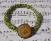 Wood Button Headband with Green Crocheted Band