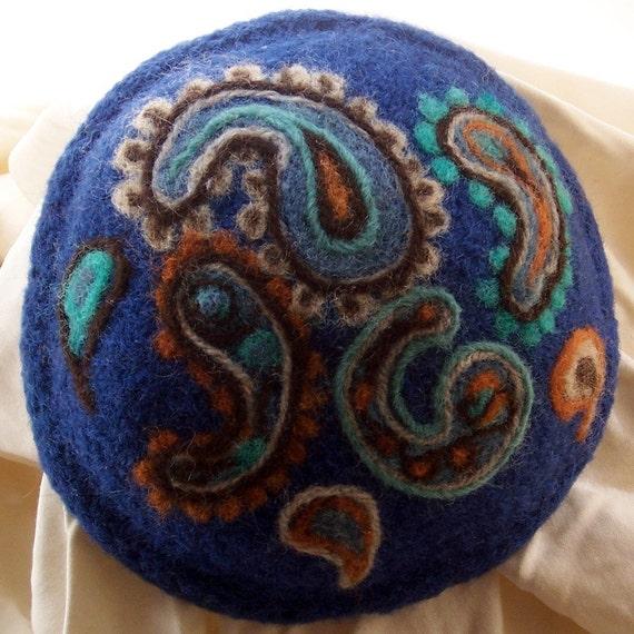 Hand Knit Yarmulke with Paisley pattern