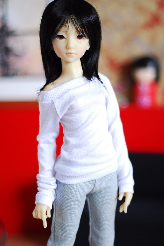 Gray check trousers and white jersey top set for Supia slim mini MSD BJD dolls