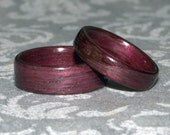 Set of Wooden Wedding Rings (Purpleheart Pictured - Other woods available) // Wood Wedding Bands // Set of Wood Rings