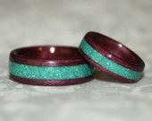 Wooden Wedding Bands with Crushed Stone Inlay (Bent Wood Method)
