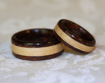 Wooden Wedding Bands with Inlay (Bent wood method)