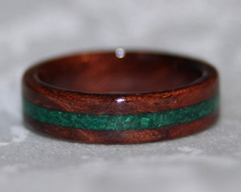 Custom Wood Ring with Stone Inlay (using the materials of your choice)