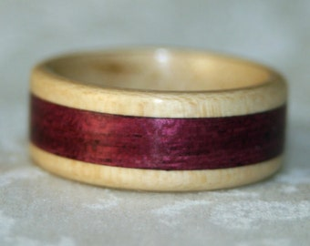 Wooden Ring with Inlay using the woods of your choice (pictured American Holly with Purpleheart Inlay)