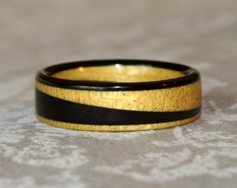 Yellowheart and Ebony Diagonal Wooden Ring