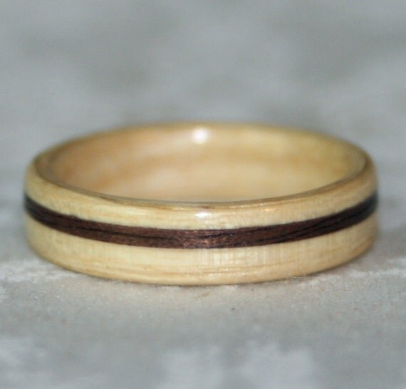 Custom Wooden Ring or Wedding Band with Inlay (Bent Wood Method)