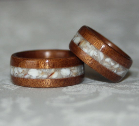 Set of Custom Wood Rings with Crushed Stone inlay (Bent Wood Method)