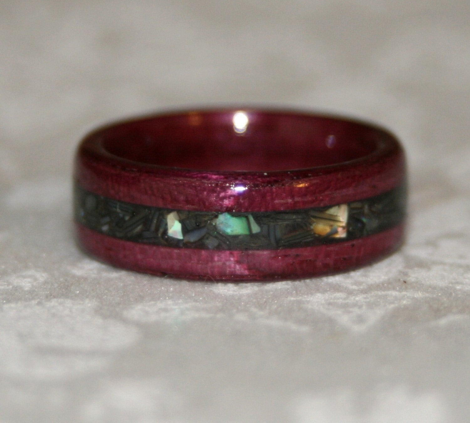 Crushed Gemstone For Inlays : Custom wooden ring with crushed stone inlay