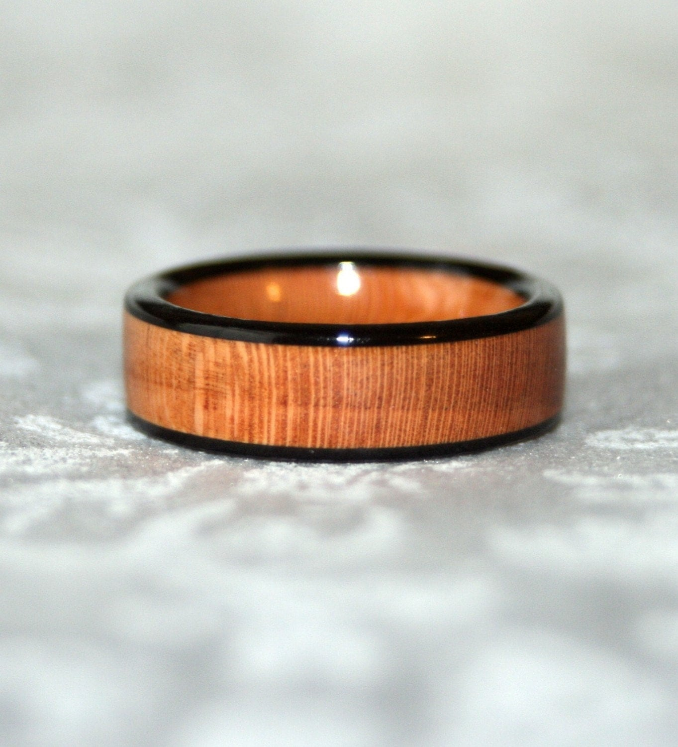 cherry wooden ring with ebony edges custom made to your size. Black Bedroom Furniture Sets. Home Design Ideas
