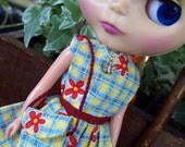 Blythe Happy Red Posies on Blue Yellow - Dress, Necklace, Purse and Hair clip