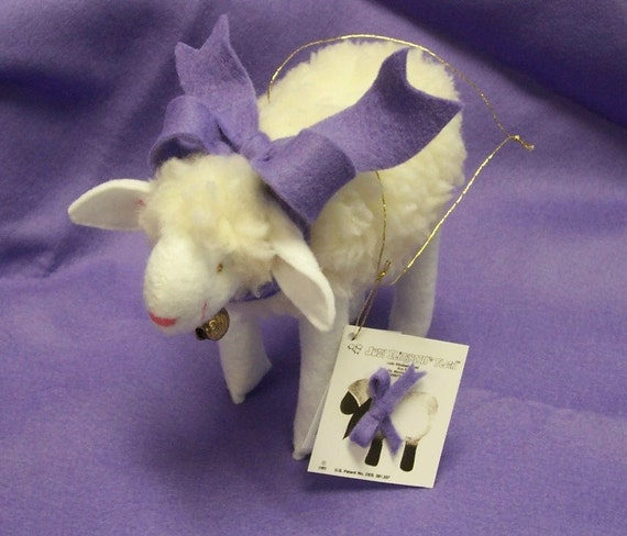 Handmade Soft Sculpture Miniature Lamb with Lavender Bow